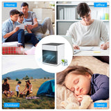 KBAYBO Mini portable USB Air Conditioning summer Fan wind natural ventilator Air Cooler fans with 7 Colors LED light for Home