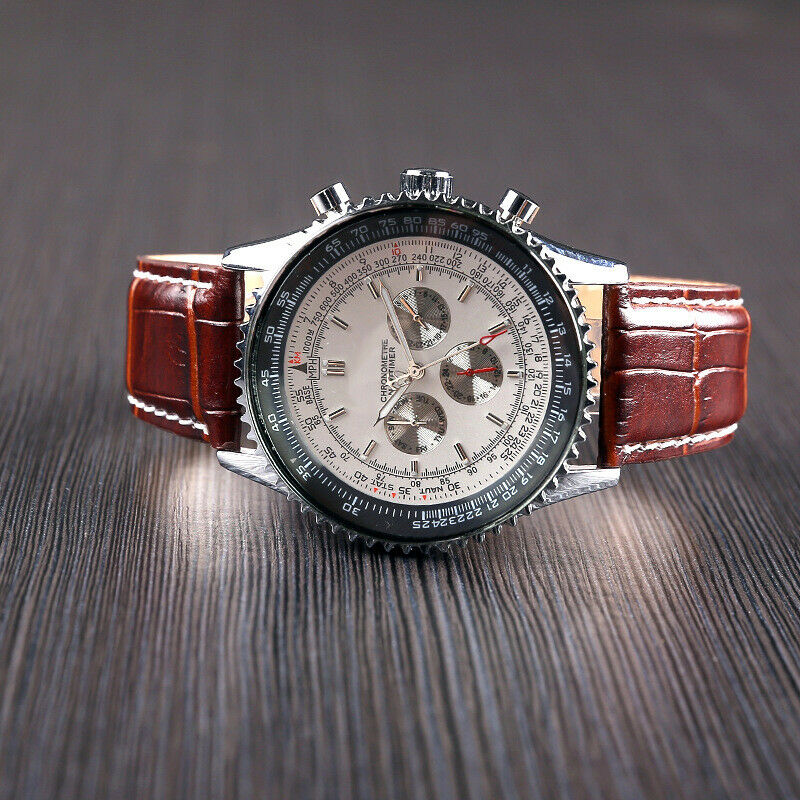 Elegant Men's Luxury Automatic Chronograph Watch in Stainless Steel and Leather