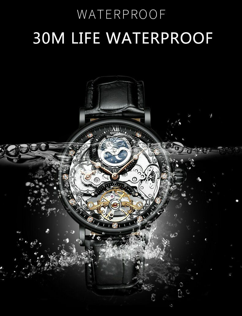 KINYUED Waterproof Mens Tourbillon Skeleton Watches Top Brand Luxury
