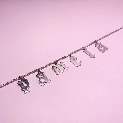 Old English Font Custom Name Necklace