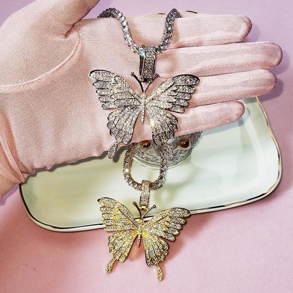 Iced Out Butterfly Charm Necklace