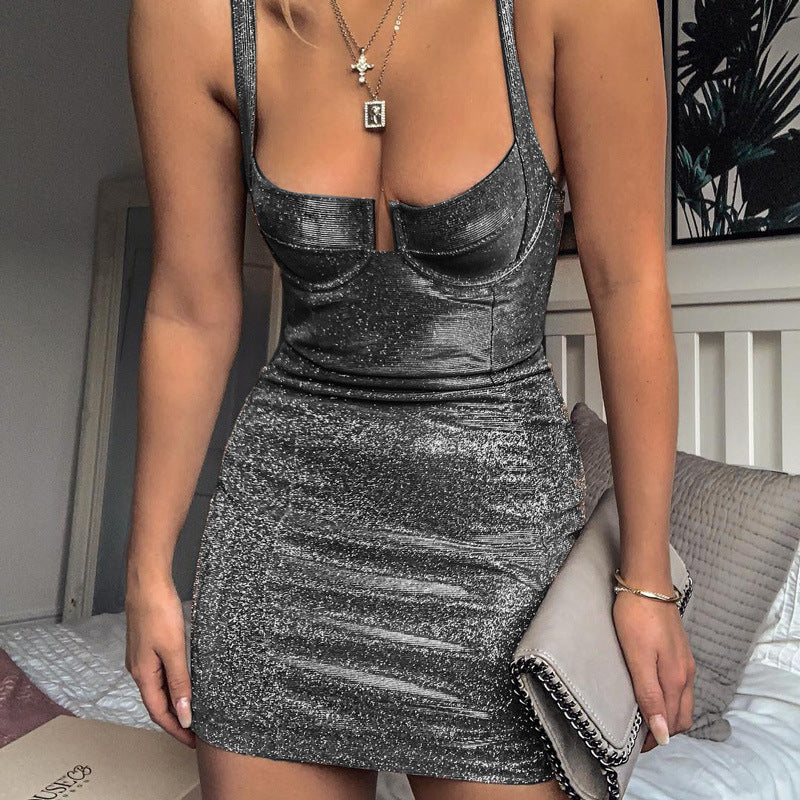 Glitter Evening Strap Mini Dress