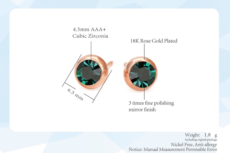Lucia's Emerald Crystal Round Stud Earrings