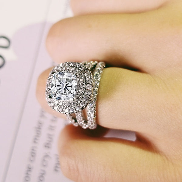 engagement diamond silver ring