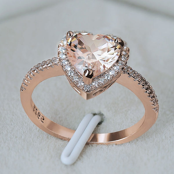 Rose Gold Crystal Heart Ring