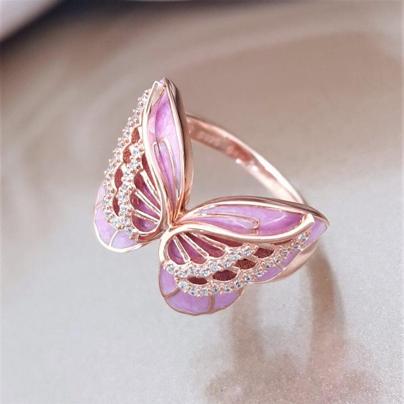 Pink butterfly Rhinestone Ring