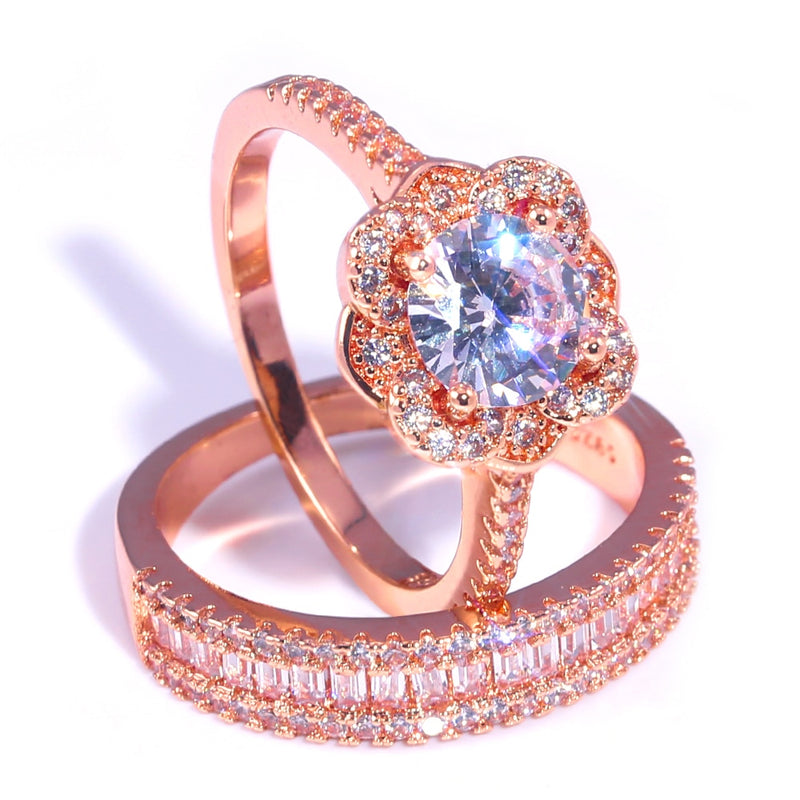 "Crystal ""Heart on Fire"" Ring Set"