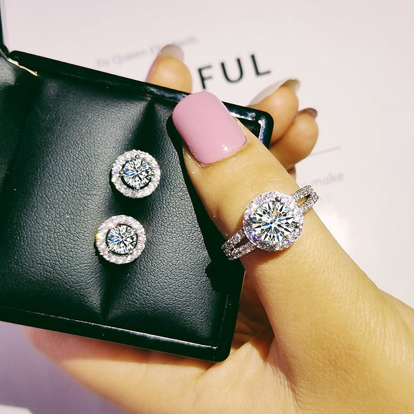 Round Rhinestone Ring and Earrings Bundle set