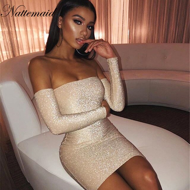 Sexy Long Sleeve Sparkle Dress