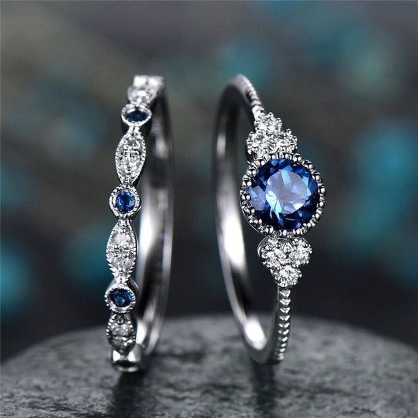 Blue Zircon Ring Set