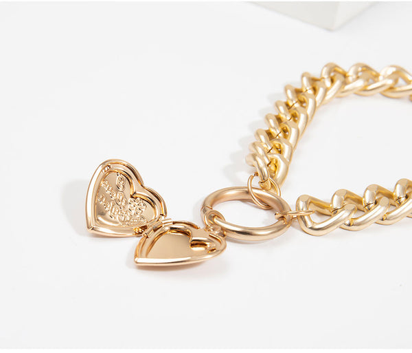 Gold Heart Locket Dual Link Choker