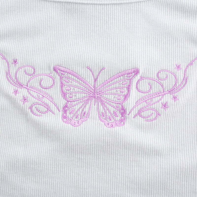 Butterfly Embroidery Sleeveless Crop Top