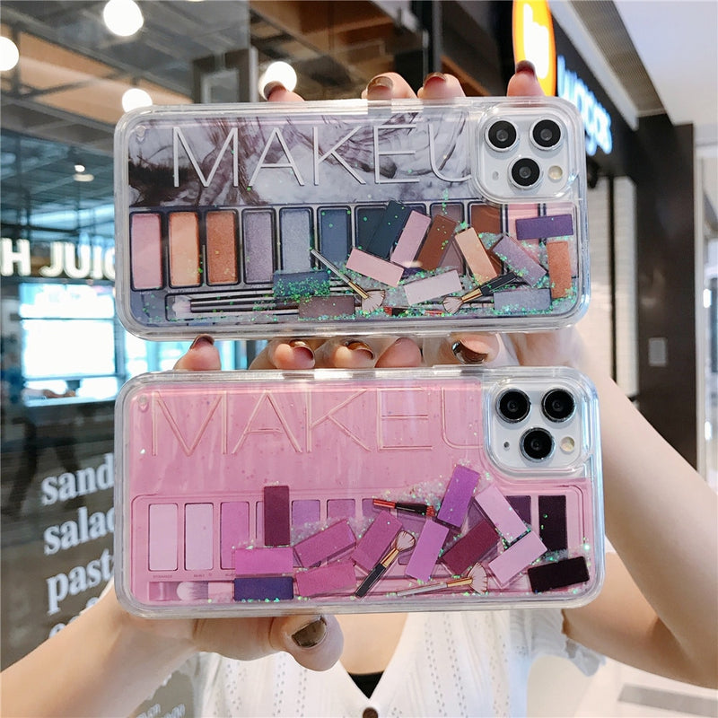 pink glitter makeup phone case