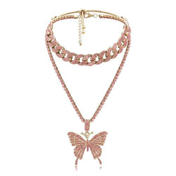 Y2K Iced Out Pink Butterfly Chain
