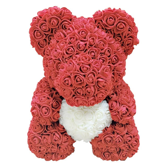 Luxury Rose Bear with Ribbon