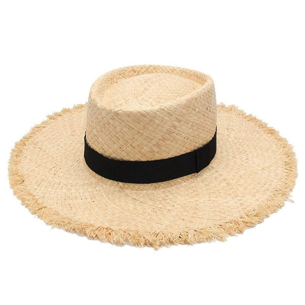 Frayed Brim Straw Boater Hat