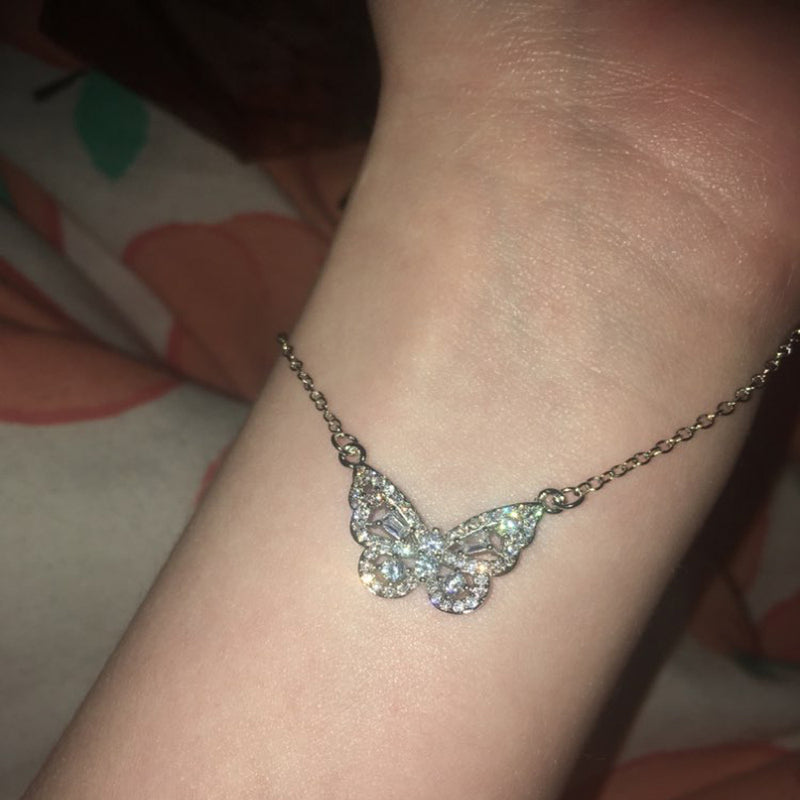 Crystal Butterfly Charm Necklace