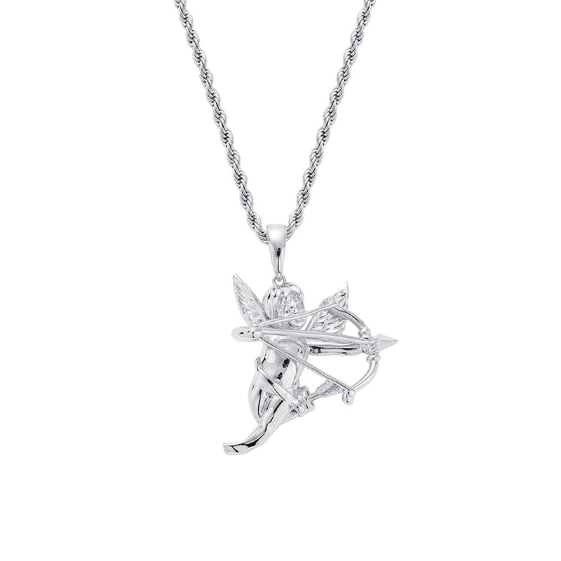 """Fall in Love"" Angel Cupid Necklace"
