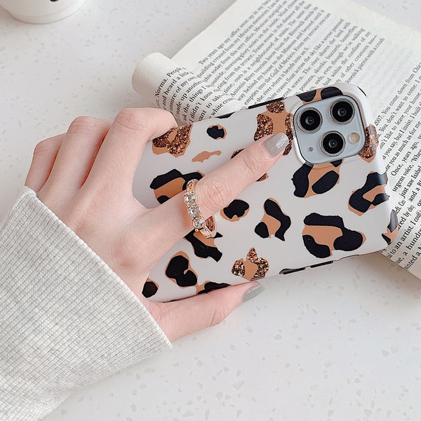 Cute Leopard Matte Case with Gold Holder