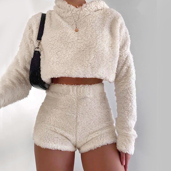 Plush Hoodies and High Waist Short Set