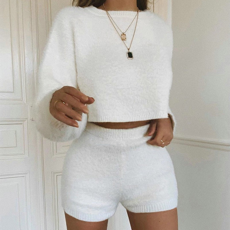 SKims Loungewear cozy knit long sleeve pullover and high waist short