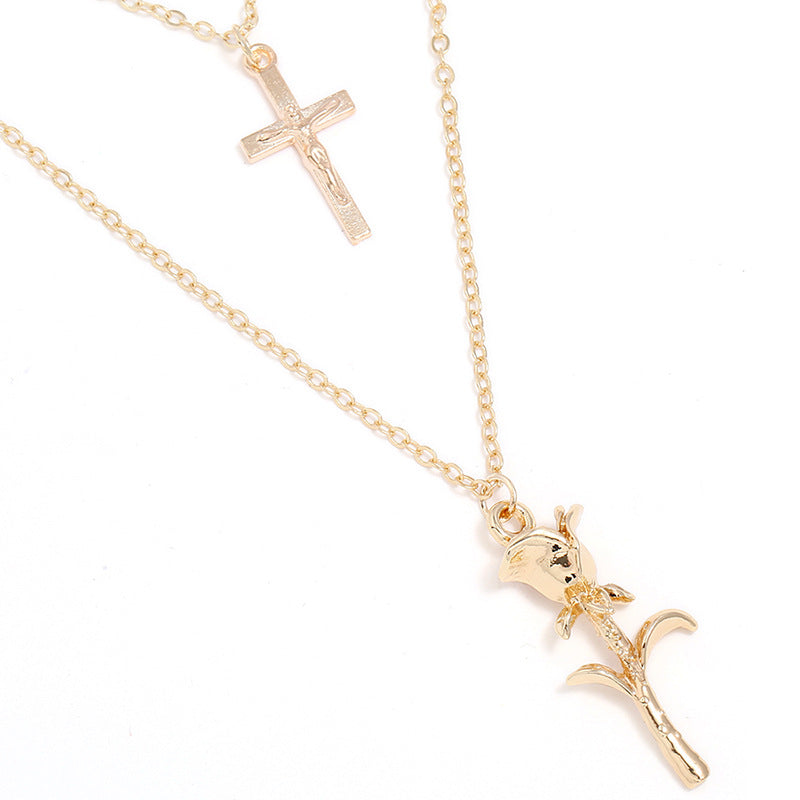 Rose Cross Pendant Necklace
