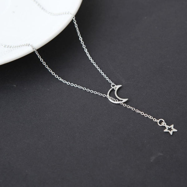 Moon Star Pendant Choker Necklace