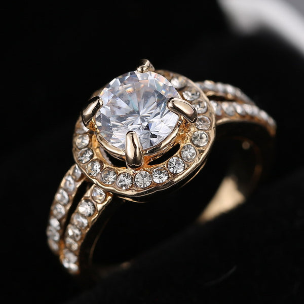 Gold Crystal Promise Ring