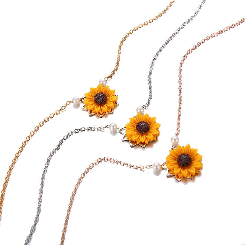 Pearl Sun Flower Necklace
