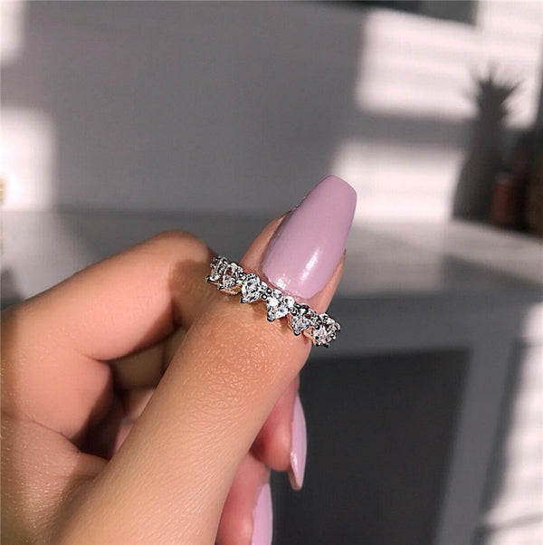 Heart to heart crystal ring