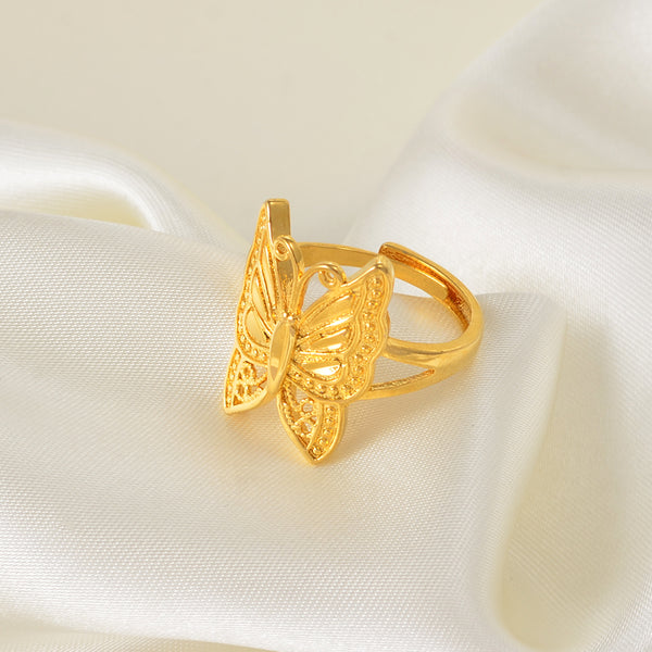 Gold Butterfly Ring Resizable