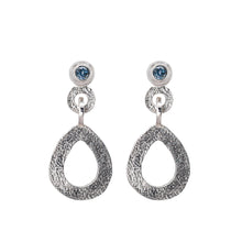 Load image into Gallery viewer, These hand-textured silver dangle post earrings features 3mm denim blue Montana sapphires.