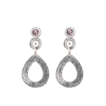 Load image into Gallery viewer, These hand-textured silver dangle post earrings features 3mm light pink topaz gemstones.
