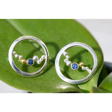 Load image into Gallery viewer, Crest Studs w/ 18K Granules & Ceylon Sapphires