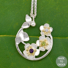 Load image into Gallery viewer, Forget Me Not Necklace w/Custom Birthstones