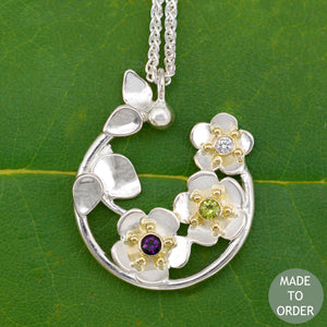 Forget Me Not Necklace w/Custom Birthstones