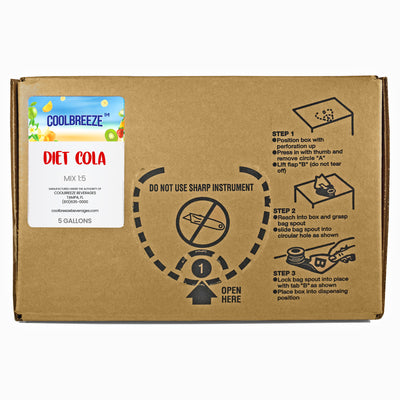 CoolBreeze 5 Gallon Soda Fountain Flavor Syrup BIB - Diet cola