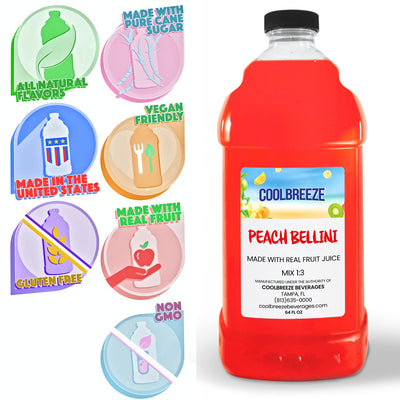 CoolBreeze®️ Ready To Use Premium Mix, Peach Bellini, 1/2 Gallon