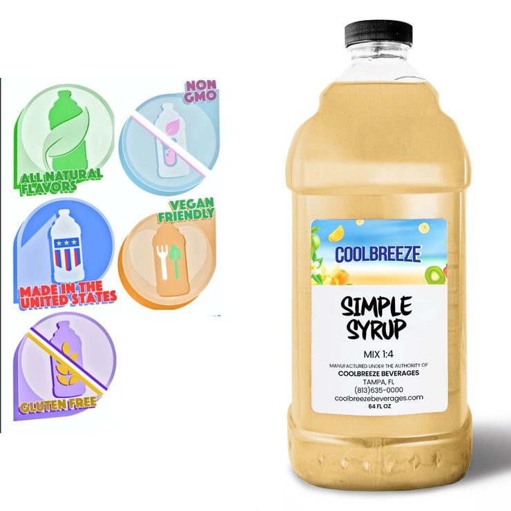 CoolBreeze®️ Ready To Use Premium Mix, Simple Syrup, 1/2 Gallon