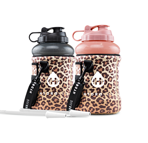 Two HydroJugs, Two Leopard Sleeves, Two Straws