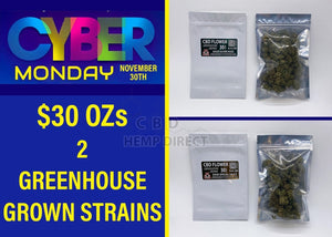 Cyber Monday Sale - Greenhouse Grown Hemp Flower (30 G) | 2 Strains Available Strain Sampler (1 Ss 1