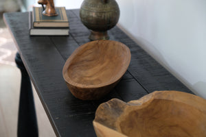 KANO boat shape wooden teak bowl