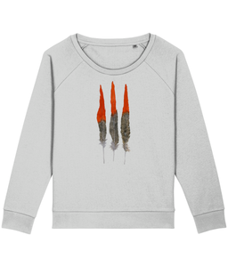 Red feathers boxy sweatshirt