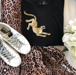 Leopard Classic fit tee - Black, Charcoal, white