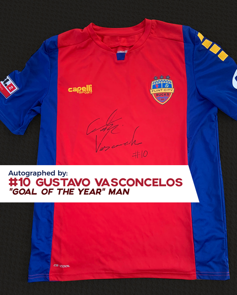 Gustavo Vasconcelos Autographed, Game Worn, Authentic 2019 USL Flint City Bucks Red Jersey - League Two National Championship Season