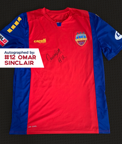 Omar Sinclair Autographed, Game Worn, Authentic 2019 USL Flint City Bucks Red Jersey - League Two National Championship Season