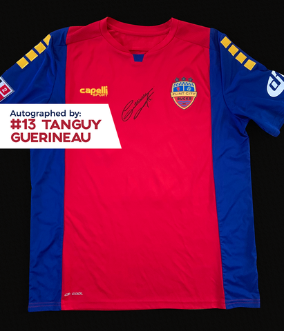 Tanguy Guerineau Autographed, Game Worn, Authentic 2019 USL Flint City Bucks Red Jersey - League Two National Championship Season