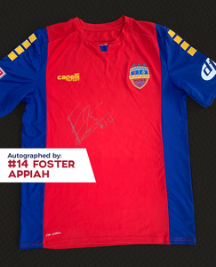 Foster Appiah Autographed, Game Worn, Authentic 2019 USL Flint City Bucks Red Jersey - League Two National Championship Season