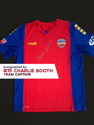 Charlie Booth Autographed, Game Worn, Authentic 2019 USL Flint City Bucks Red Jersey - League Two National Championship Season