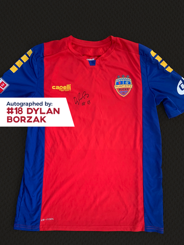 Dylan Borzak Autographed, Game Worn, Authentic 2019 USL Flint City Bucks Red Jersey - League Two National Championship Season